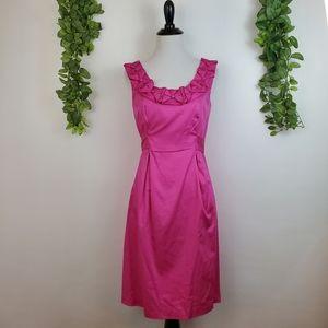 Max & Cleo Pink Rosette Sleeveless Pleated Dress